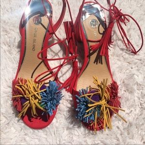 NEVER WORN River Island Pom Pom tie sandals